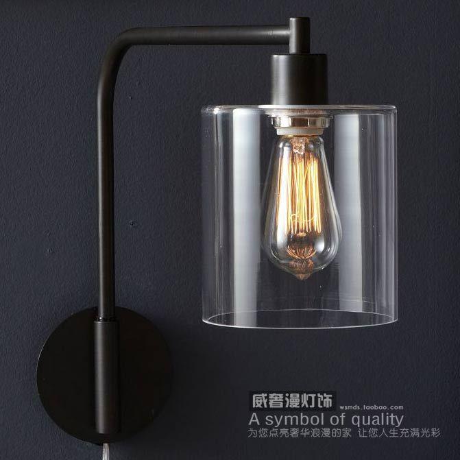 American Simple Wall Lamp Swing Arm Wall Lamp Glass Shade