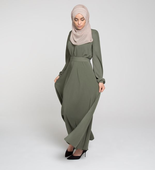 Olive Ruched Abaya - £54.99 : Inayah, Islamic Clothing & Fashion, Abayas, Jilbabs, Hijabs, Jalabiyas & Hijab Pins