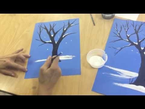 Flipped Classroom:  How to draw a winter tree - YouTube