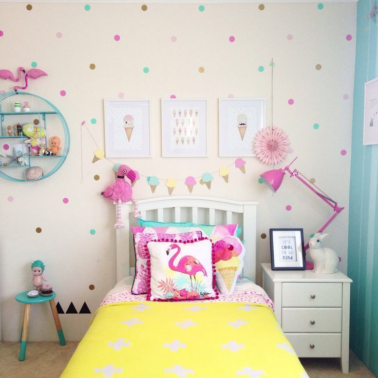 Girls Flamingo Bedroom With Pops Of Yellow And Teal   Oceau0027s Room By Part 14