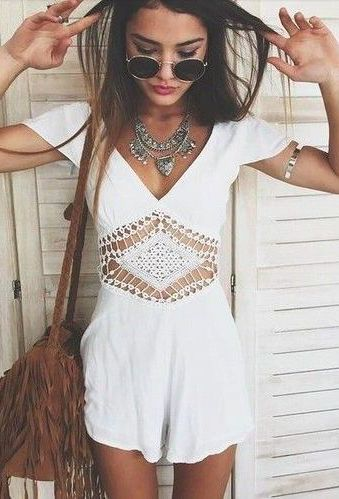 #summer #fashion / white crochet playsuit