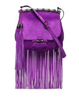 gucci  fringe handbag    nouveau suede fringe shoulder bag purple $ 2500 pre order