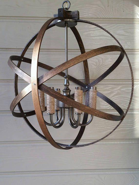 wood chandelier industrial chandelier chandelier light rustic chandelier orb chandelier farmhouse light rustic light metal orb light