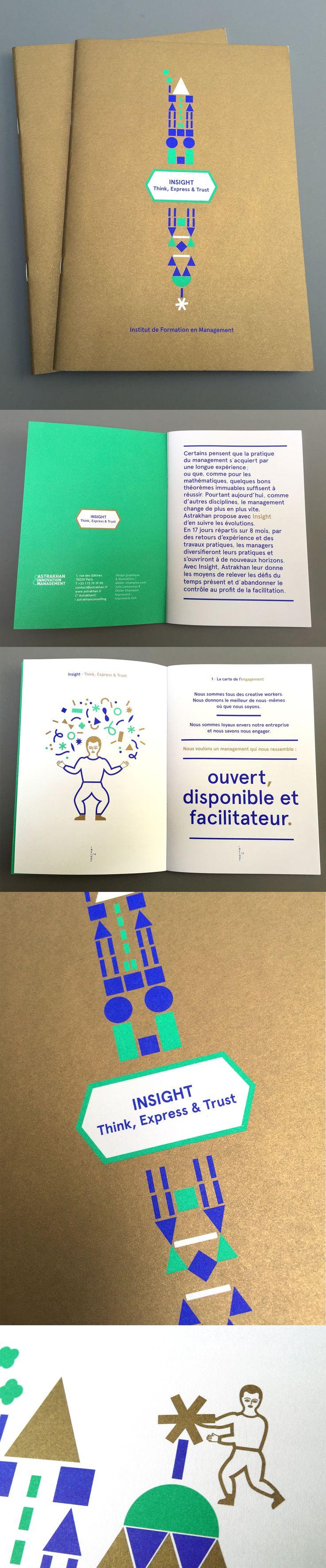 """Brochure """"Insight"""" (2015) pour l'entreprise de consulting numérique Astrakhan. Illustrations/ Julia Lamoureux. https://www.pinterest.com/julialamoureux/. Atelier Champion"""