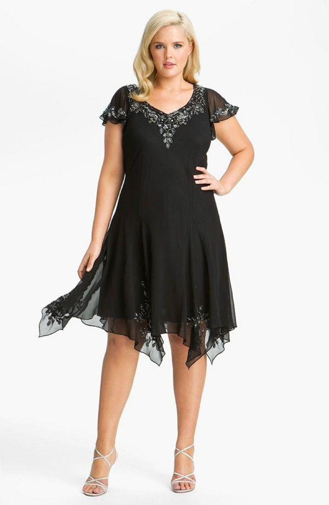 New J KARA Beaded Chiffon Godet Dress Flutter Sleeve Black 18 W Handkerchief Hem #JKara