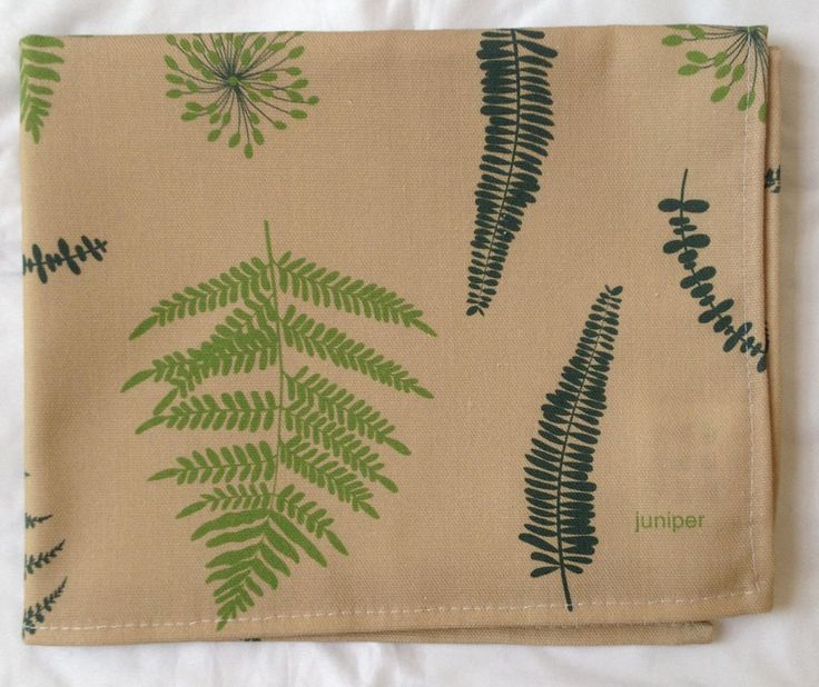 Green fern print tea towel on olive green background in 100% cotton by JuniperAccessories on Etsy