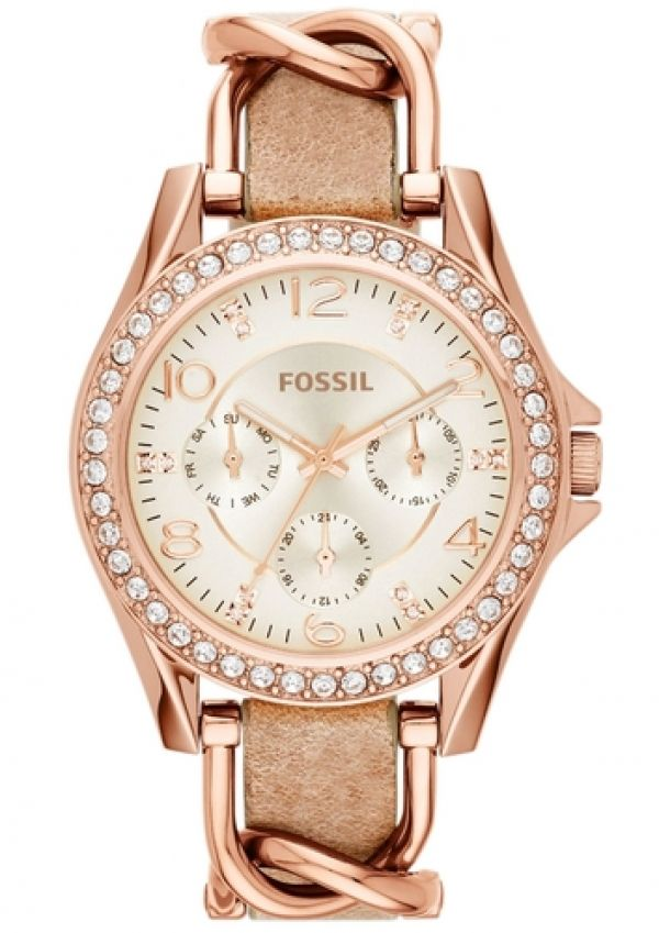 FOSSIL Multifunktionsuhr »RILEY, ES3466« sand / rosegold bei FrauenOutfits.de