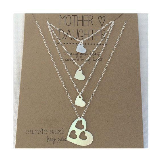 Madre hija collar Set regalo de madre de 3 hijas por carriesaxl
