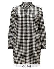 Fashion Union Curve Gingham Check Shirt Dress - Lipsy