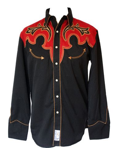 Panhandle 'Code of the West' Black with Red Overlay Western Cowboy Shi – Bronco Bill's