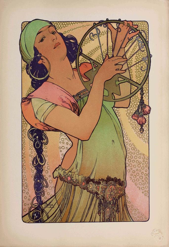 Alphonse Mucha's Salome is erotic and exotic in her filmy costume and stylized hair, an Art Nouveau staple. Her half-closed eyes stare provocatively, reflecting Mucha's interest in the new field of hy