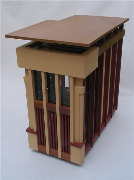 Usonian casemod. Split-level cantilevered roofs made of teak round out a Frank Lloyd Wright inspired design.