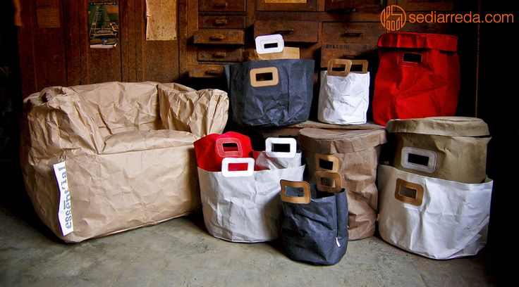 Essent'ial armchair and bags entirely made with recycled materials