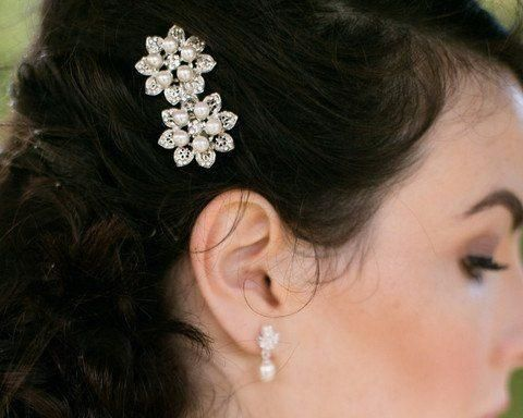 Double Pearl Hair Clip with Crystals, Vintage Style, Alyson