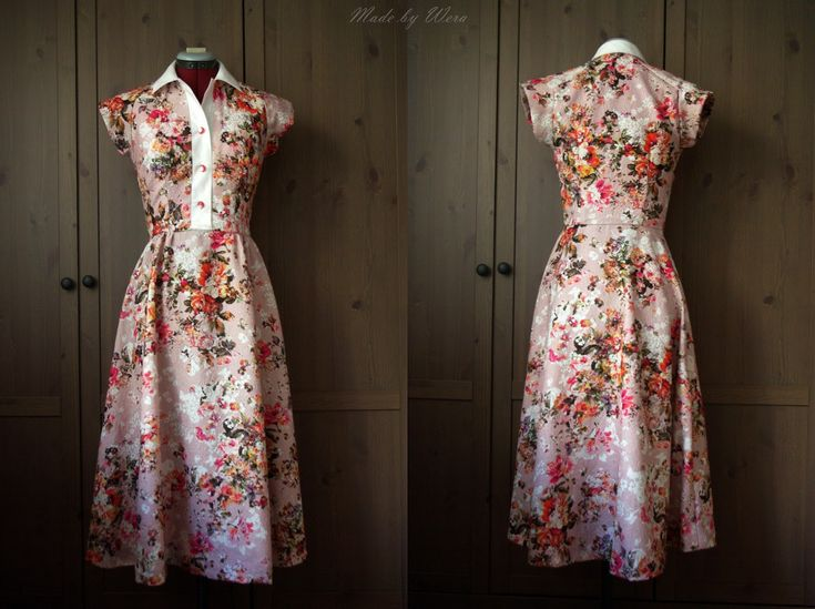LANDRYNKOWA BETTY - sukienka w stylu lat 50tych   madebywera  Dress based on the Progressive Farmer pattern from the 50s. Printed bubblegum cotton with floral pattern.