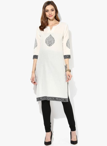 Buy Sangria 3/4Th Sleeves Blockprionted Kurta With Red Trim for Women Online  India,