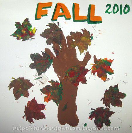 Handprint and Footprint Arts & Crafts: Fall Handprint Tree Craft    #: Handprint Trees, Footprint Art, Fall Leaves, Art Crafts, Handprint Crafts, Fall Crafts, Art & Crafts, Handprint Footprint, Fall Handprint