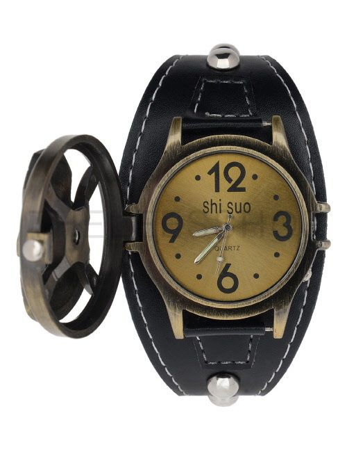 (MISW54-BLACKBRONZE) Mens Stainless Steel Leather Strap Studs Square Buckle Fashion Watch