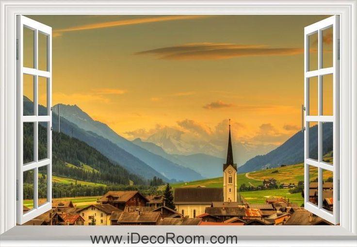 3D Switzerland Valley Town Goms Ulrichen window wall sticker art decal IDCCH-LS-000028