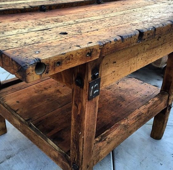 Rustic Wood Vintage Table: