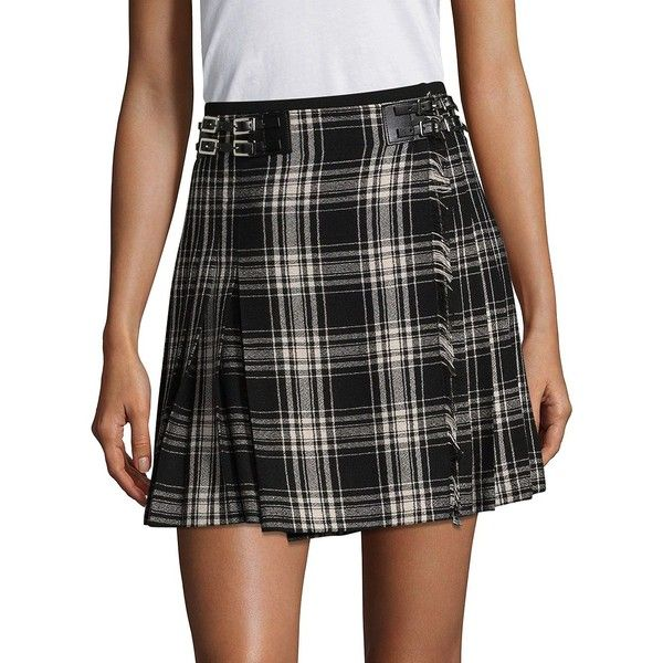 The Kooples Pleated Checked Skirt (925 RON) ❤ liked on Polyvore featuring skirts, elastic skirt, checkered skirt, pleated skirt, checked pleated skirt and long pleated skirt