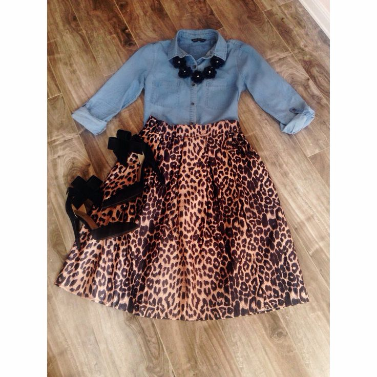 Chambray and Leopard Modest outfit!!