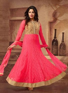 Pink party wear anarkali salwar kameez in fancy net