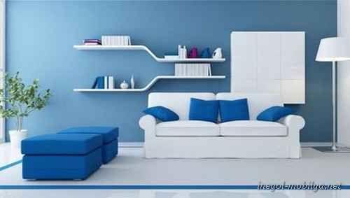 cool Mavi beyaz oturma odası modelleri