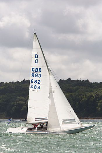The Dragon class sailboat 'Ecstatic' racing during Cowes Week 2013.