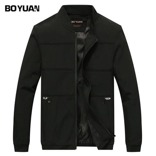 BOYUAN Brand Designer Sping Autumn Jacket Men Bomber Jacket Male Coat Solid Spliced Casual Fashion Outerwear Coats Men 8707
