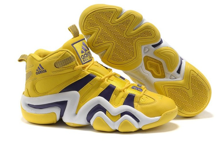 Get cheap yellow purple white Adidas Crazy 8 Lakers for