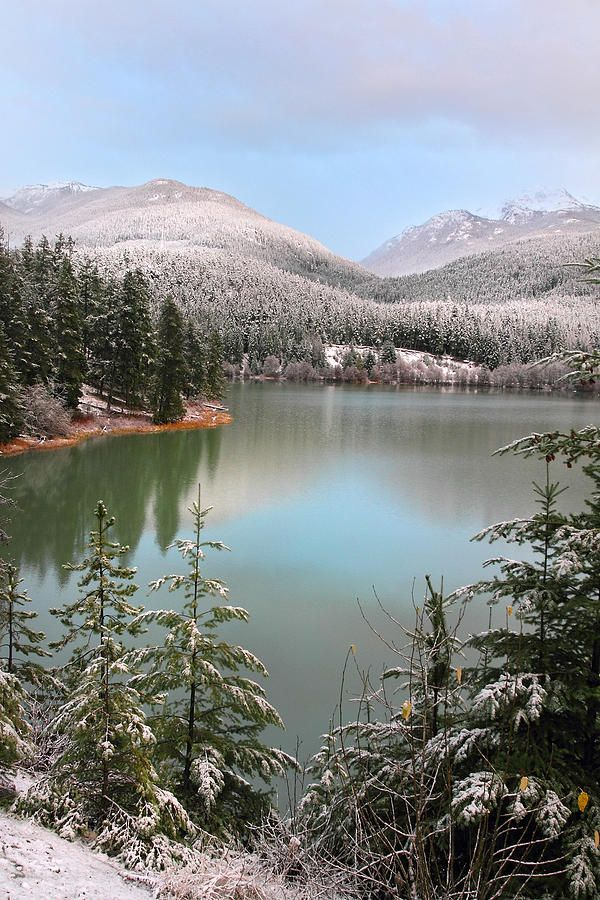 Snowy Green Lake Sunset - Whistler B.C., Canada