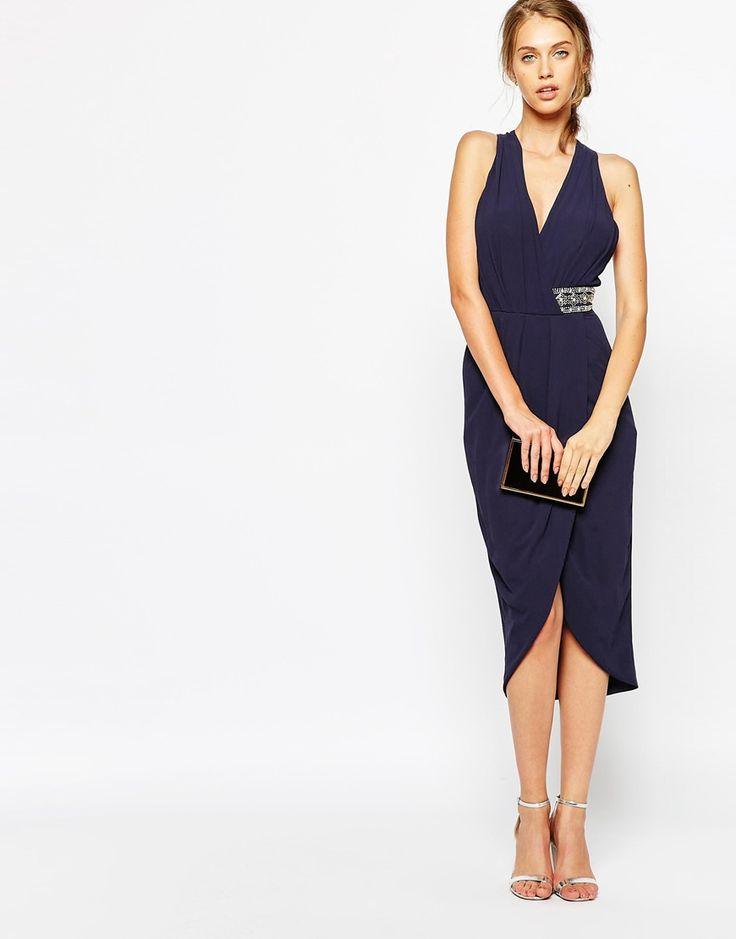 TFNC Wrap Front Plunge Midi Dress With Embellished Waist