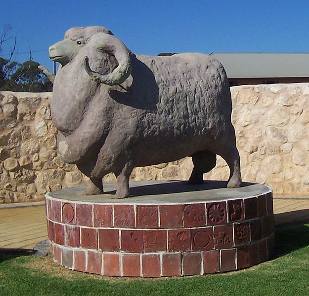 The Big Ram in Karoonda South Australia recognises the importance of the sheep industry in the region. Instigated by the Karoonda Development Group and located on the Railway Lawns, the Big Ram is 2 metres (6 ft 7 in) high and 3 metres (10 ft) long, and is built from concrete. It was completed in 2003.