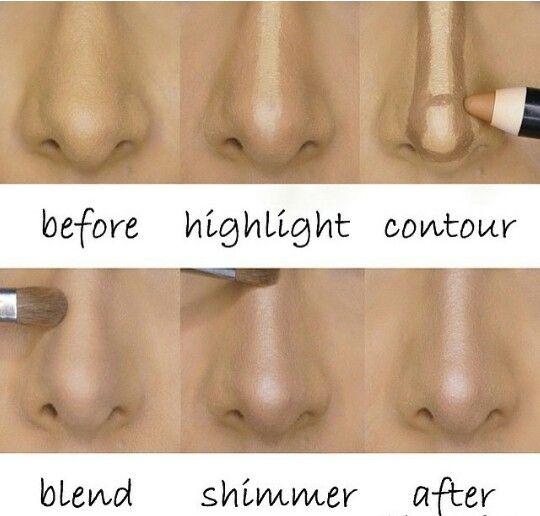 Técnicas de contorno e luz para fazer o nariz parecer menor e mais fino