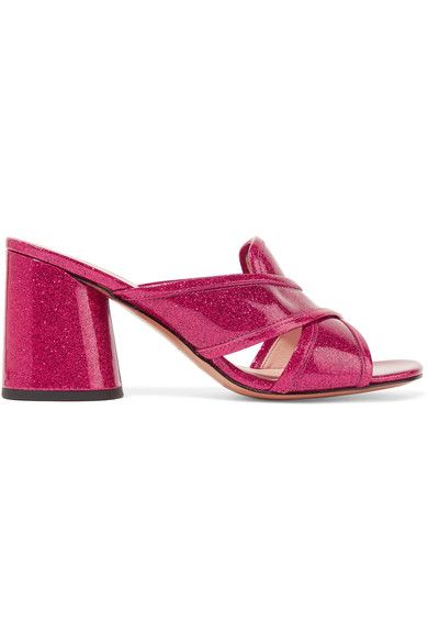Marc Jacobs - Aurora Glittered Patent-leather Mules - Fuchsia - IT41