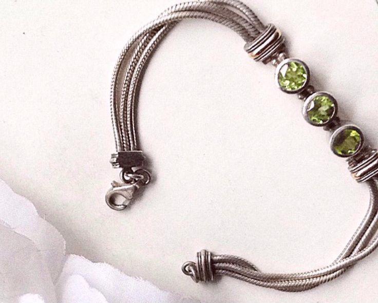 sterling Silver Bracelet, Vintage Bracelet, Flexible Bracelet, Triple Chain Braceleit, Peridot Stone, Sterling Silver , Unique Bracelet