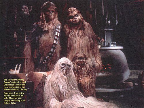 in the storyline that ties the special together chewbacca
