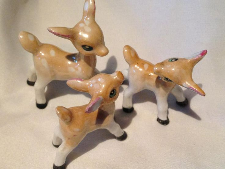 Kitsch - vintage - deer - charity shop find - Bought them at £1.99 for all three . Bargain