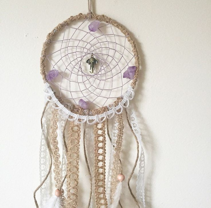 Bohemian Elephant and Raw Amethyst Cluster Stone Lace