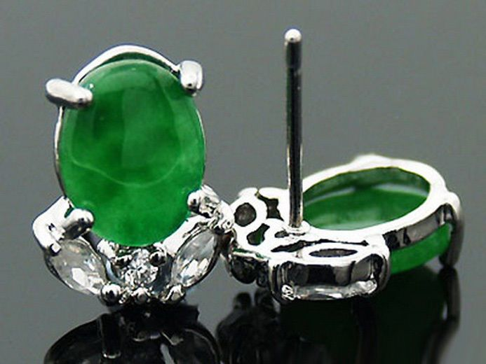 Emerald Green Jade White Gold Plated Crystal Apple Earrings