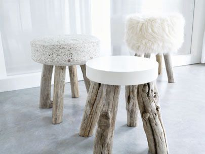 Driftwood Stool - my favorite is the soft fuzzy one in the back on the right.