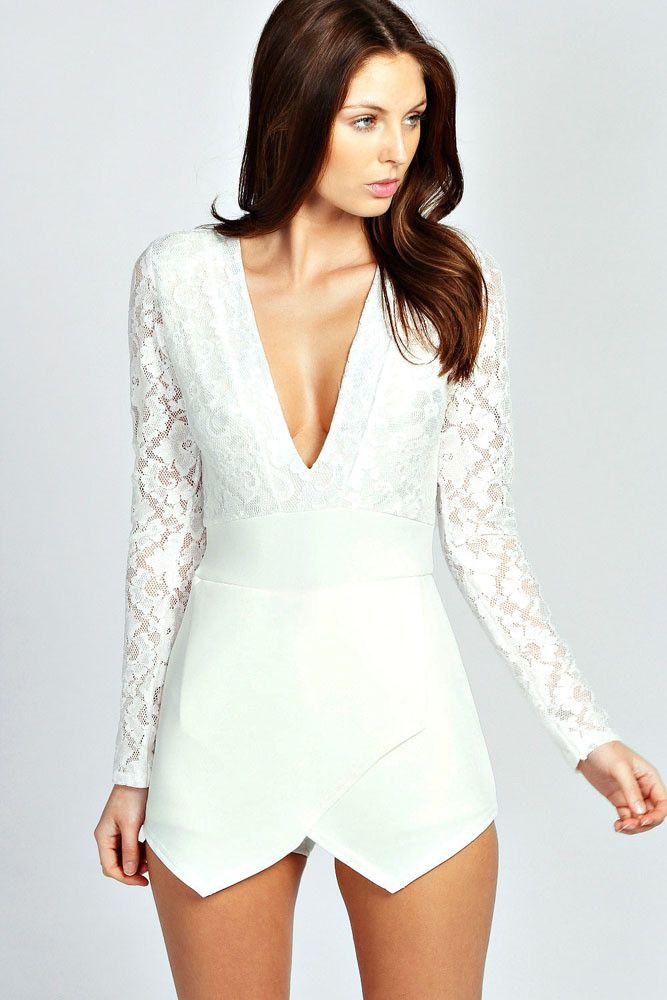 White Long Sleeve Lace Plunge Skort Playsuit. Black RomperWhite JumpsuitLace  InsertWomens ...
