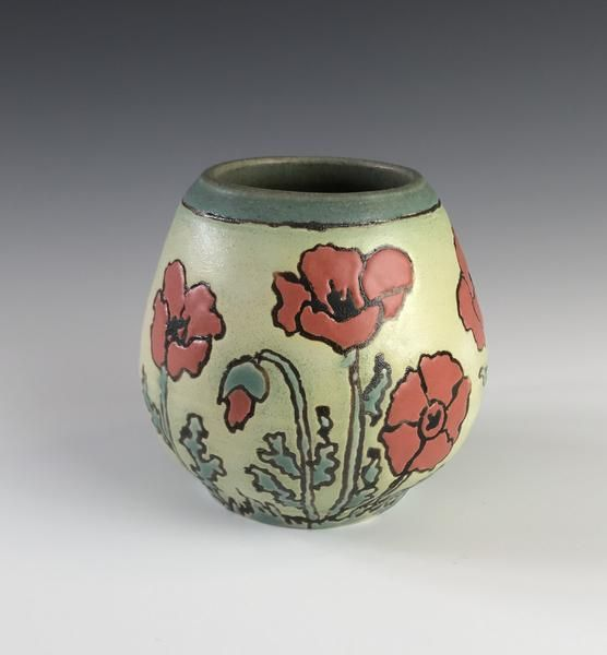 A Craftsman Vase with Poppies