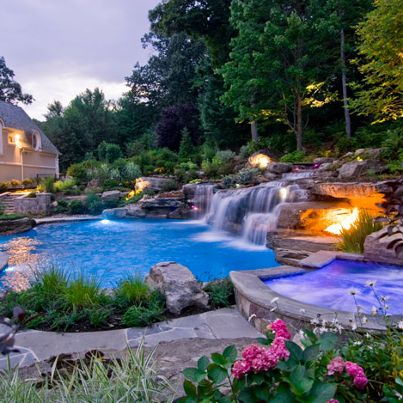 15 pool waterfalls ideas for your outdoor space - Design A Swimming Pool