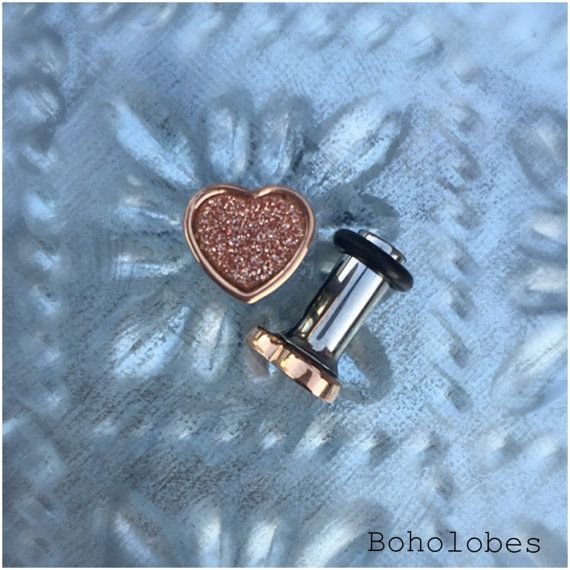 Tiny glitter Heart in rose gold stainless steel plugs for gauged or stretched ears sizes: 14g, 12g, 10g, 8g, 6g, 4g