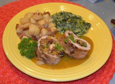 Gefüllte Schweinebraten, Stuffed Pork Loin with Fruit and Nut Dressing