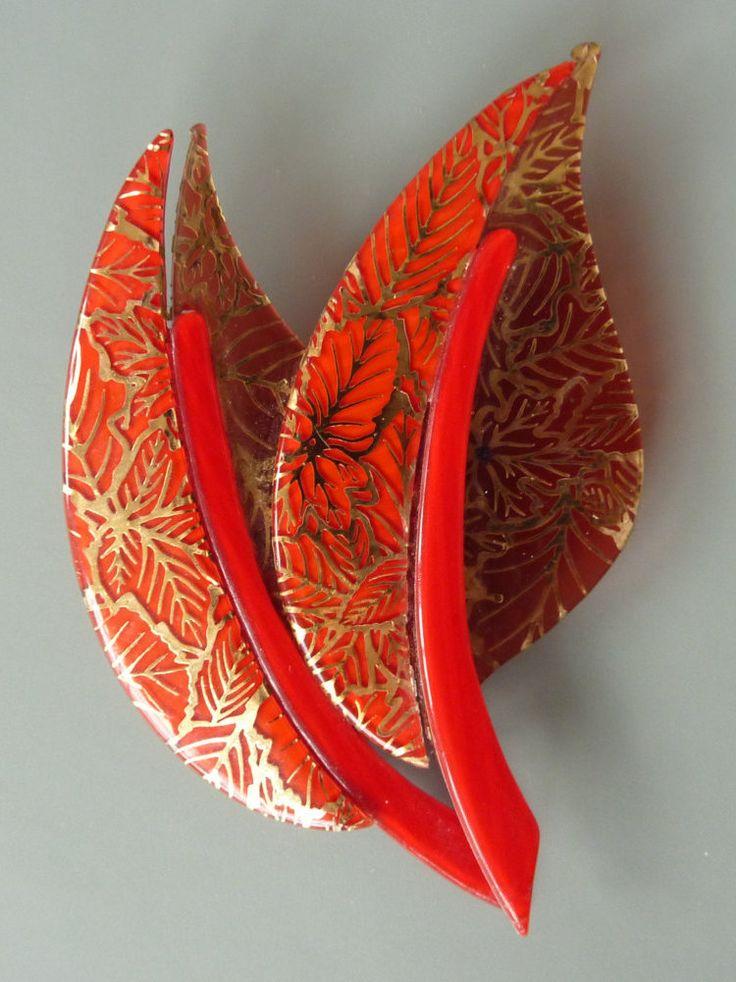 """Vintage Lea Stein """"rote Herbstblätter"""" Brosche, Blätter von arteaustria auf Etsy"""