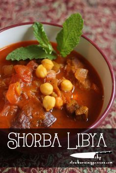 Shorba Libya is an amazingly good nationally famous Libyan soup recipe featuring lamb, mint, chickpeas, and lots of spicy pepper, cinnamon, and turmeric.