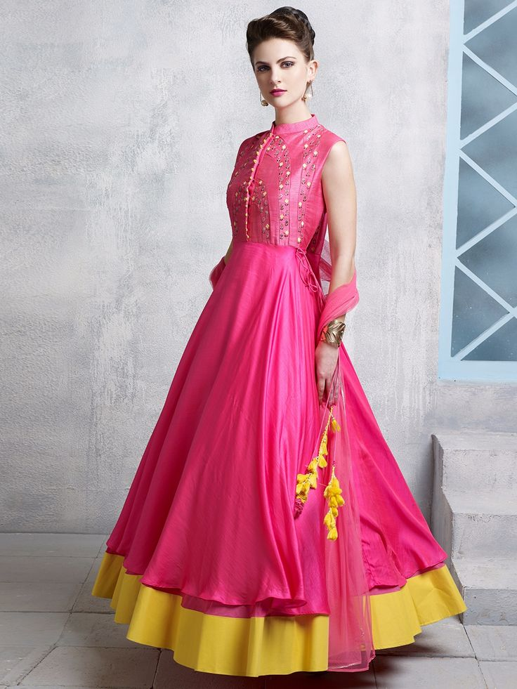 Shop Magenta cotton silk embroidered wedding wear anarkali salwar suit online from G3fashion India. Brand - G3, Product code - G3-WSS12935, Price - 7595, Color - Magenta, Fabric - Cotton Silk,